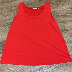 Susan Graver Orange Dressy Tank Top Size XLarge